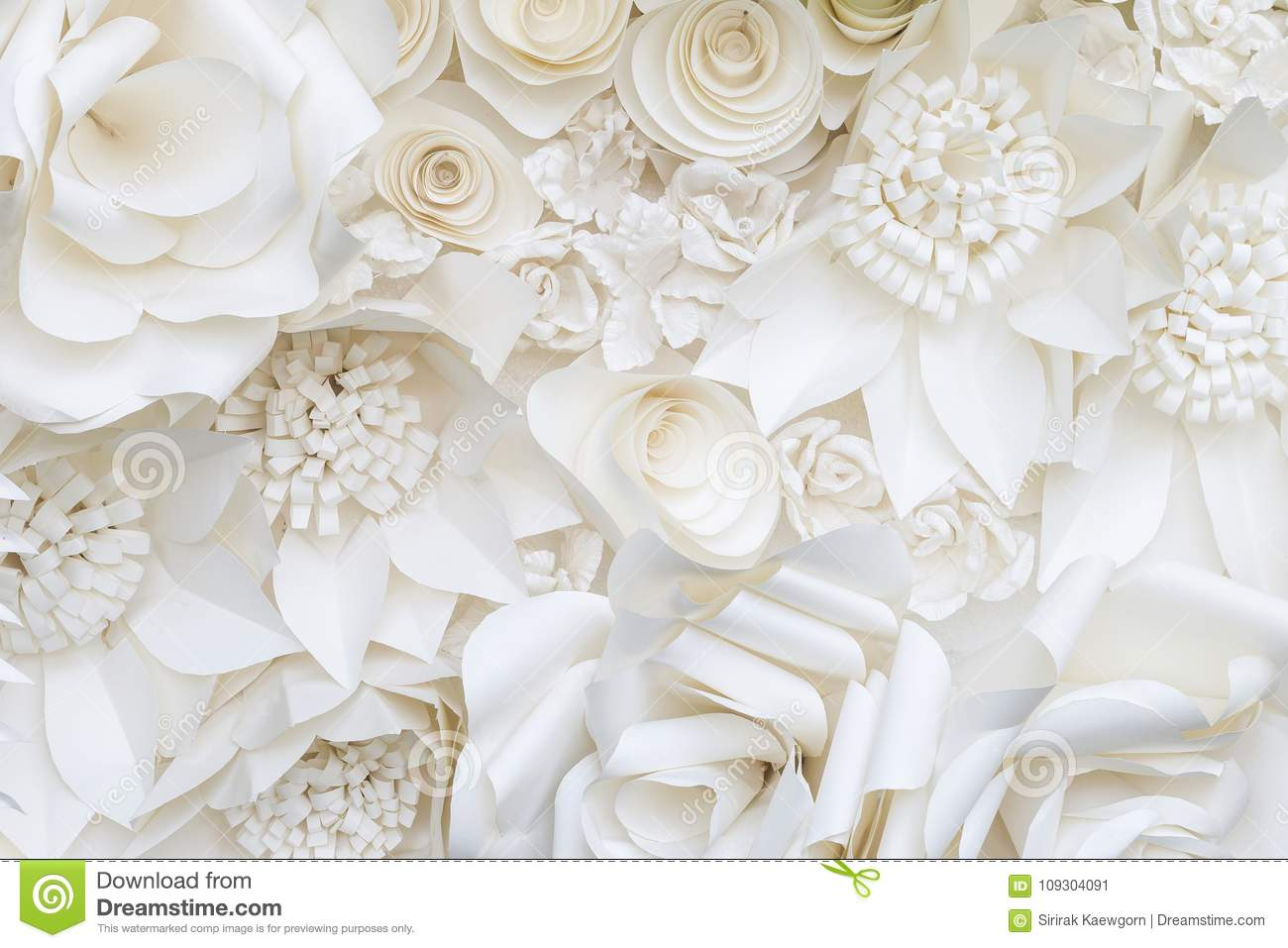 Closeup White Paper Flower Design Background Stock Image Image Of
