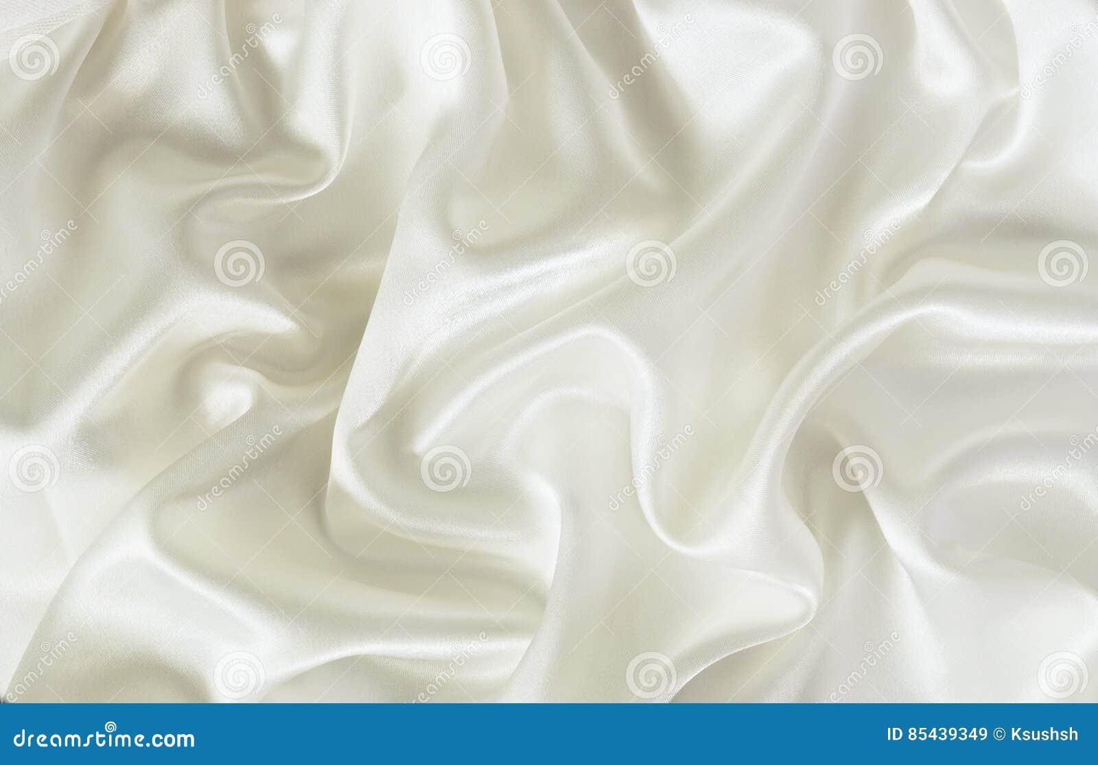 Closeup of white silk fabric