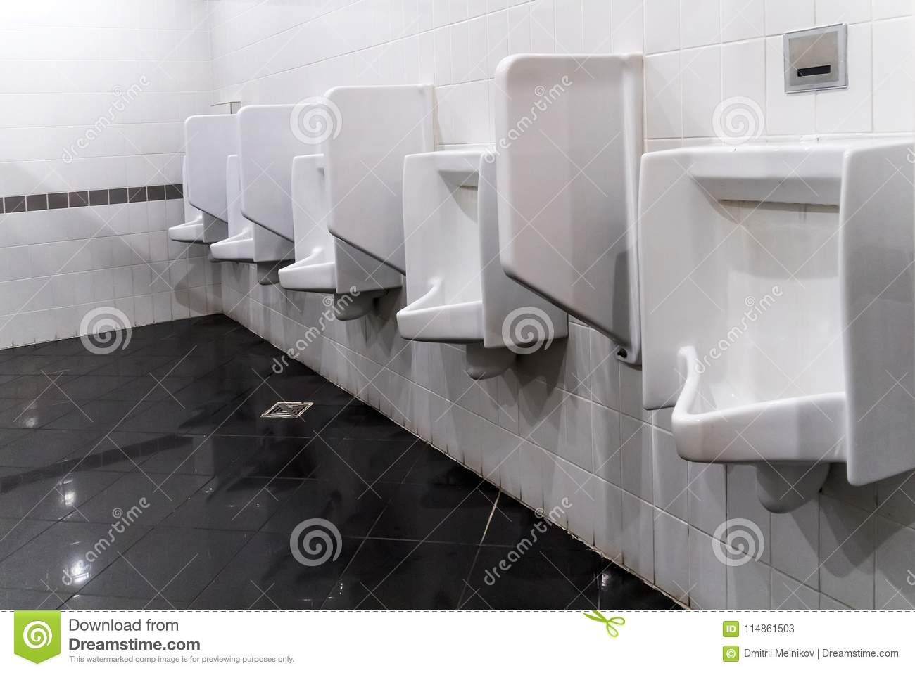 Download Closeup Of Three White Urinals In Menu0027s Bathroom, Design Of White  Ceramic Urinals Stock