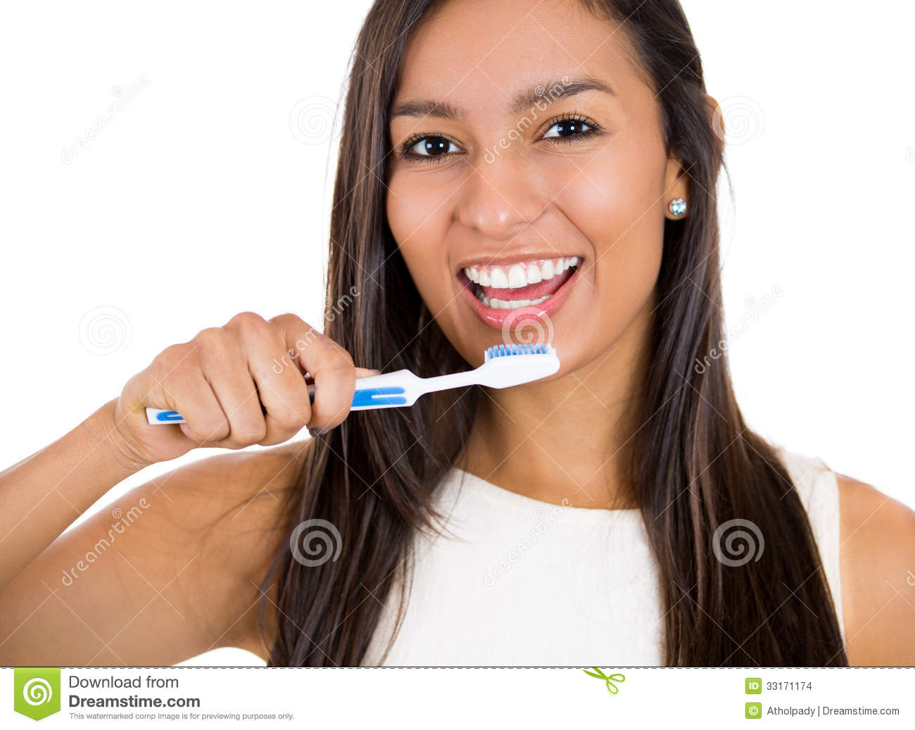 Closeup Of Woman Brushing Her Teeth With Toothpaste And A ...