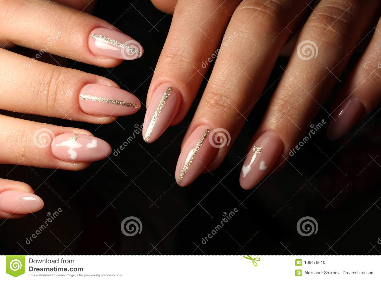 Closeup Of Woman Hands With Nail Design Stock Photo Image Of