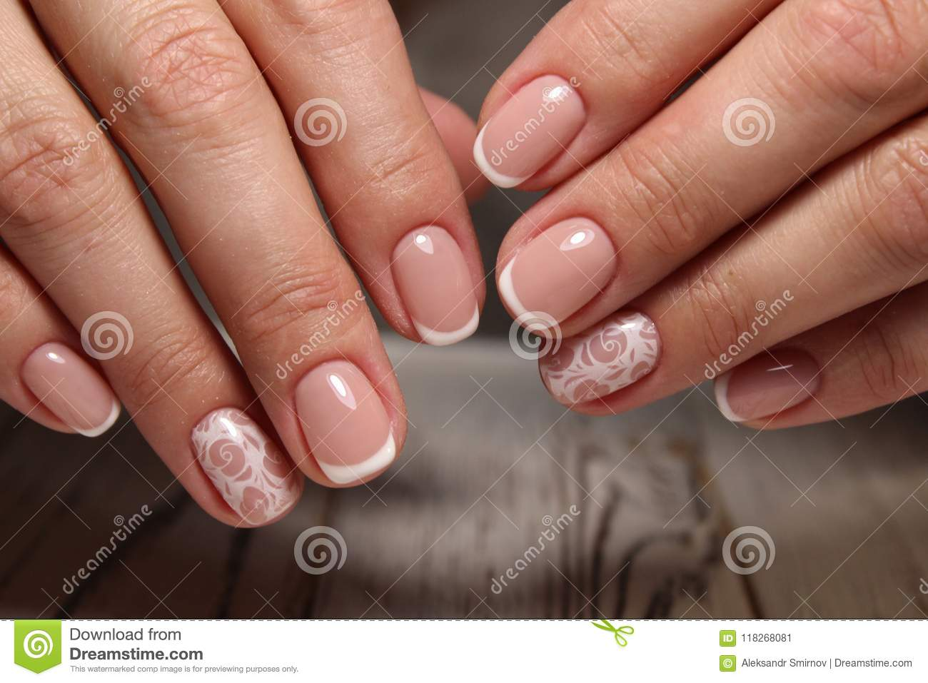 Closeup Of Woman Hands With Nail Design Stock Image Image Of