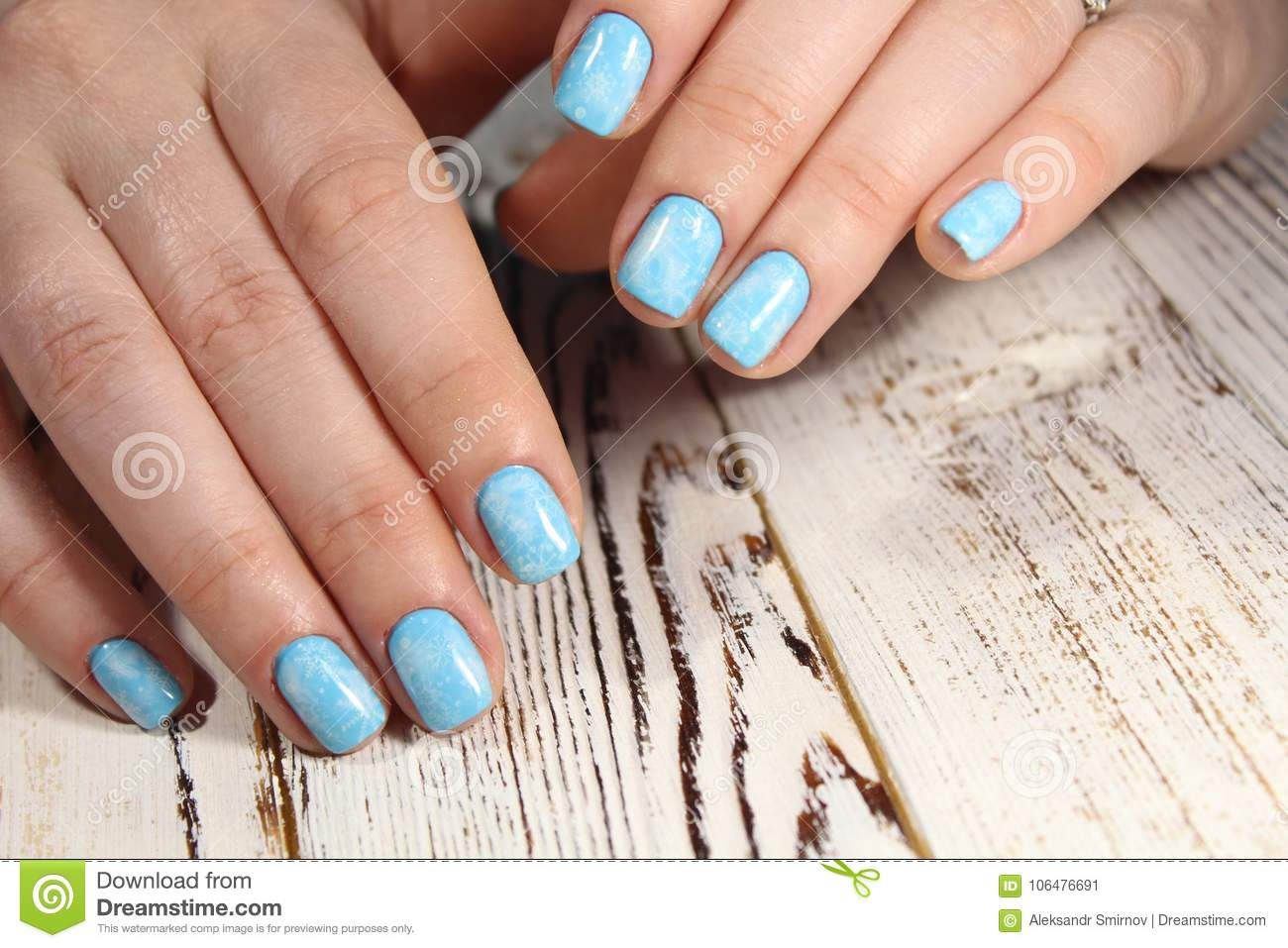 Closeup Of Woman Hands With Nail Design. Stock Image - Image of ...