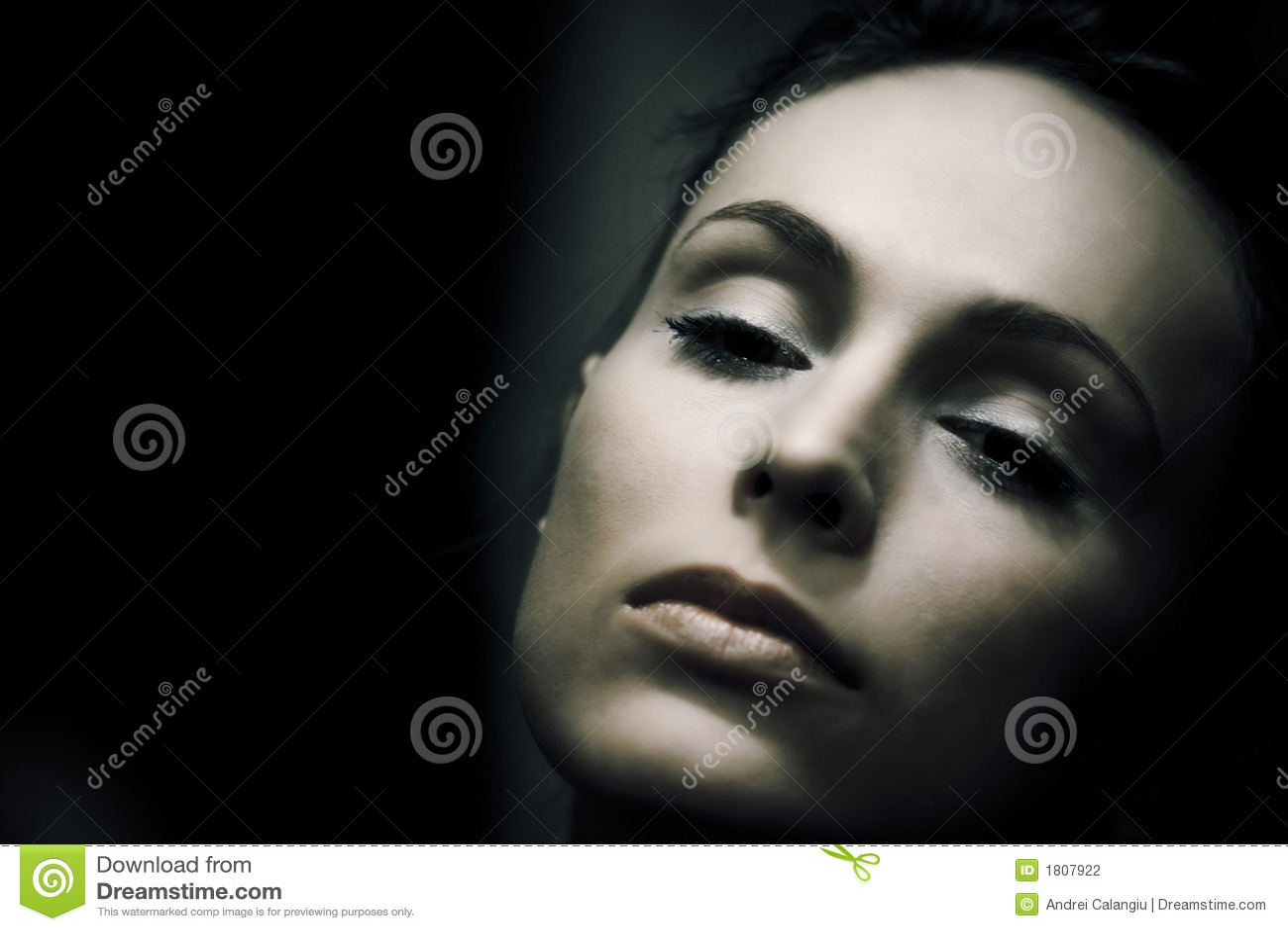 Closeup Woman Portrait Retro