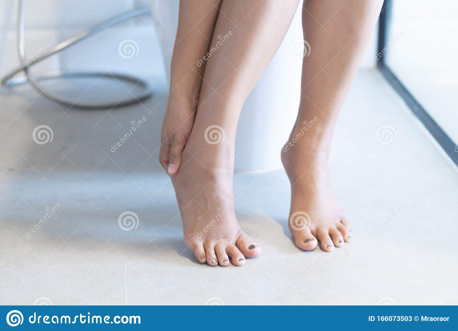 Close Up Woman Stomachache With Toilet In The Morning