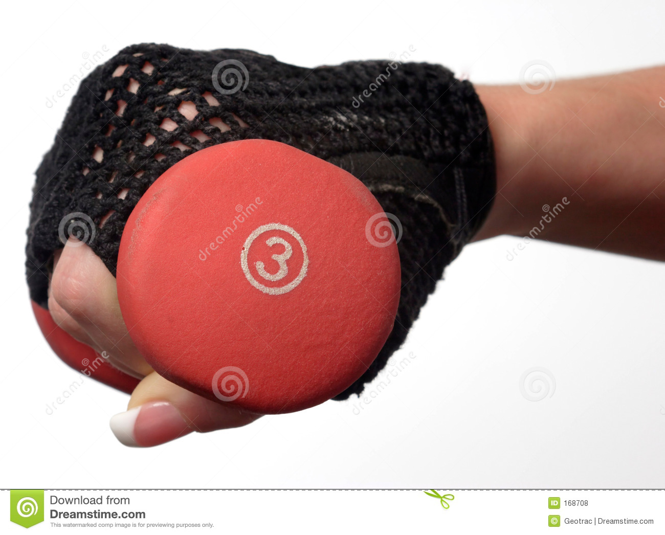 Closeup of a womans hand holding a 3 pound weight