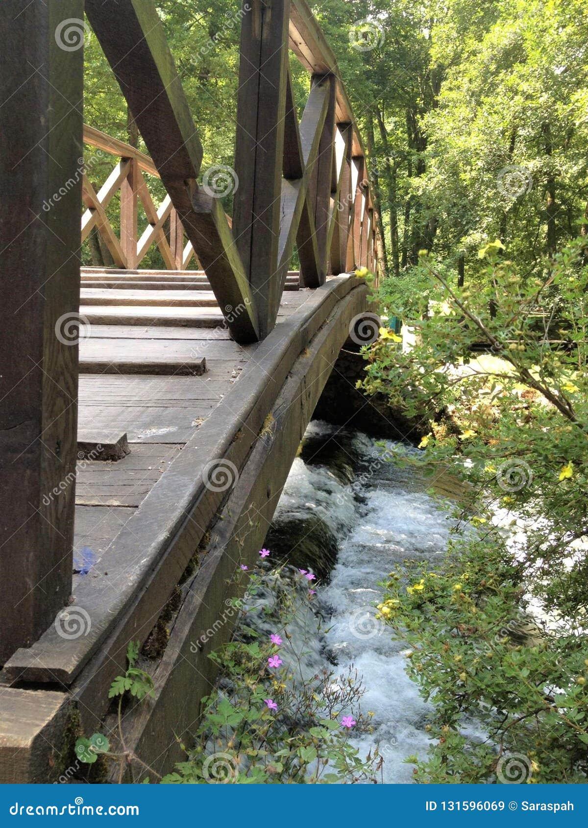 Closeup of a wooden bridge