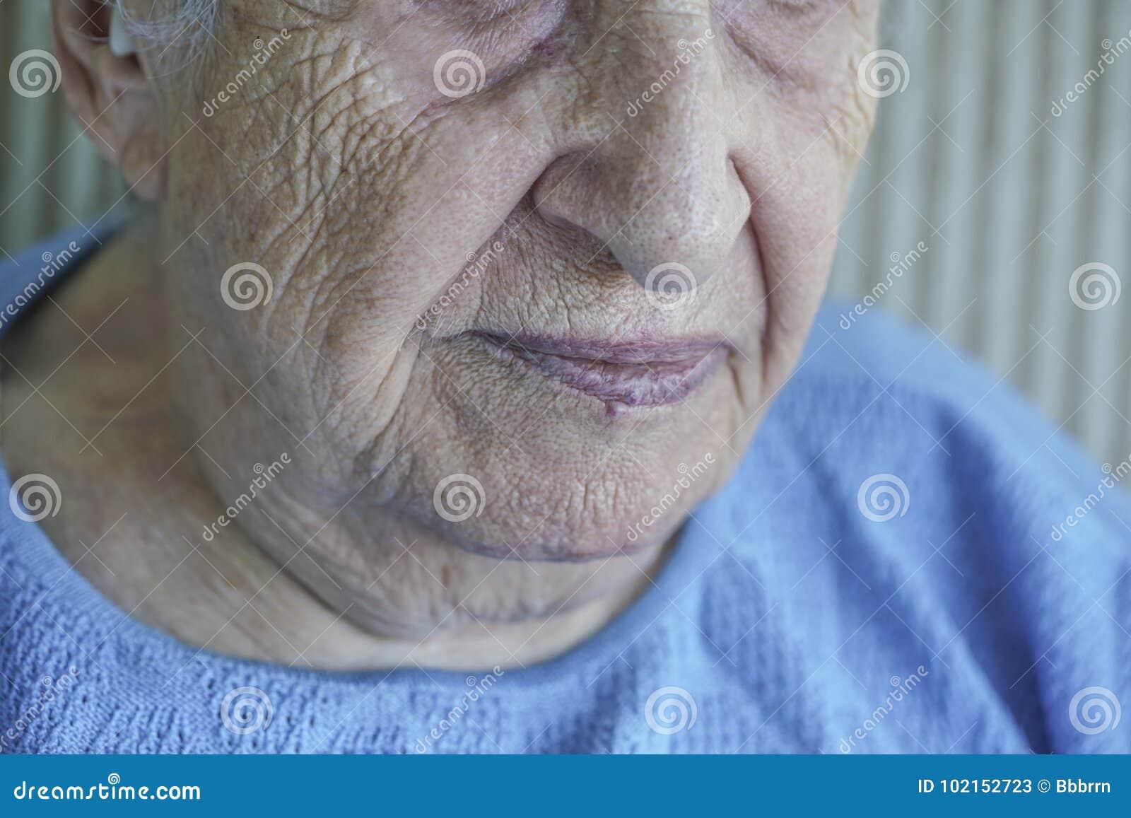 Closeup face of a senior person