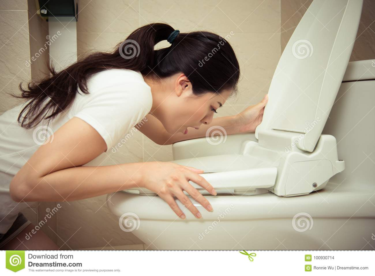 Closeup Of Young Pretty Woman Vomiting Into Toilet Stock ...