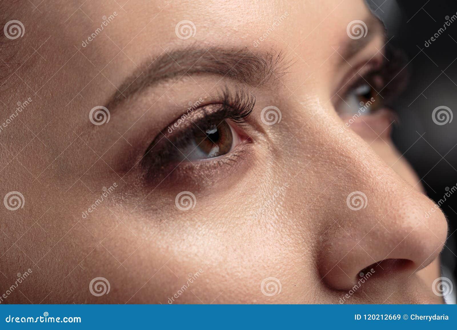 Closeupmakrofotoet av kvinna` s synar med långa snärtar och naturlig makeup