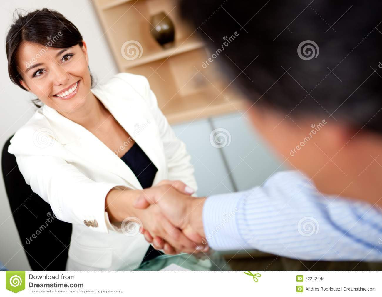 Closing a business deal stock image. Image of girl ...