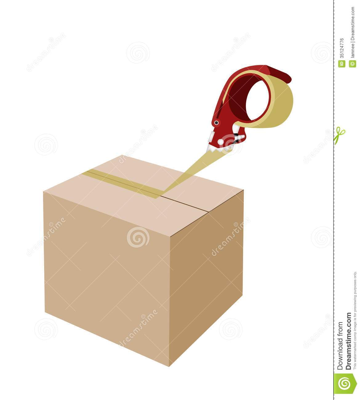 Red Packing Tape Dispenser or Adhesive Tape Dispenser Closing A Brown ...
