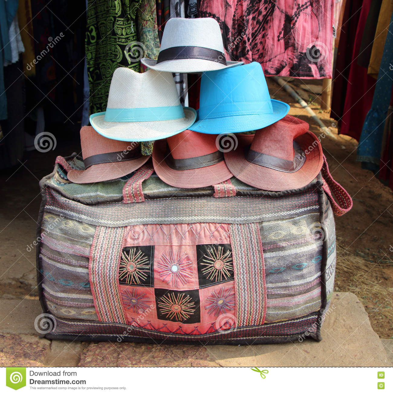 Cloth Bag And Hat In A Shop In South India Stock Image - Image of ... 0af0fdbe924