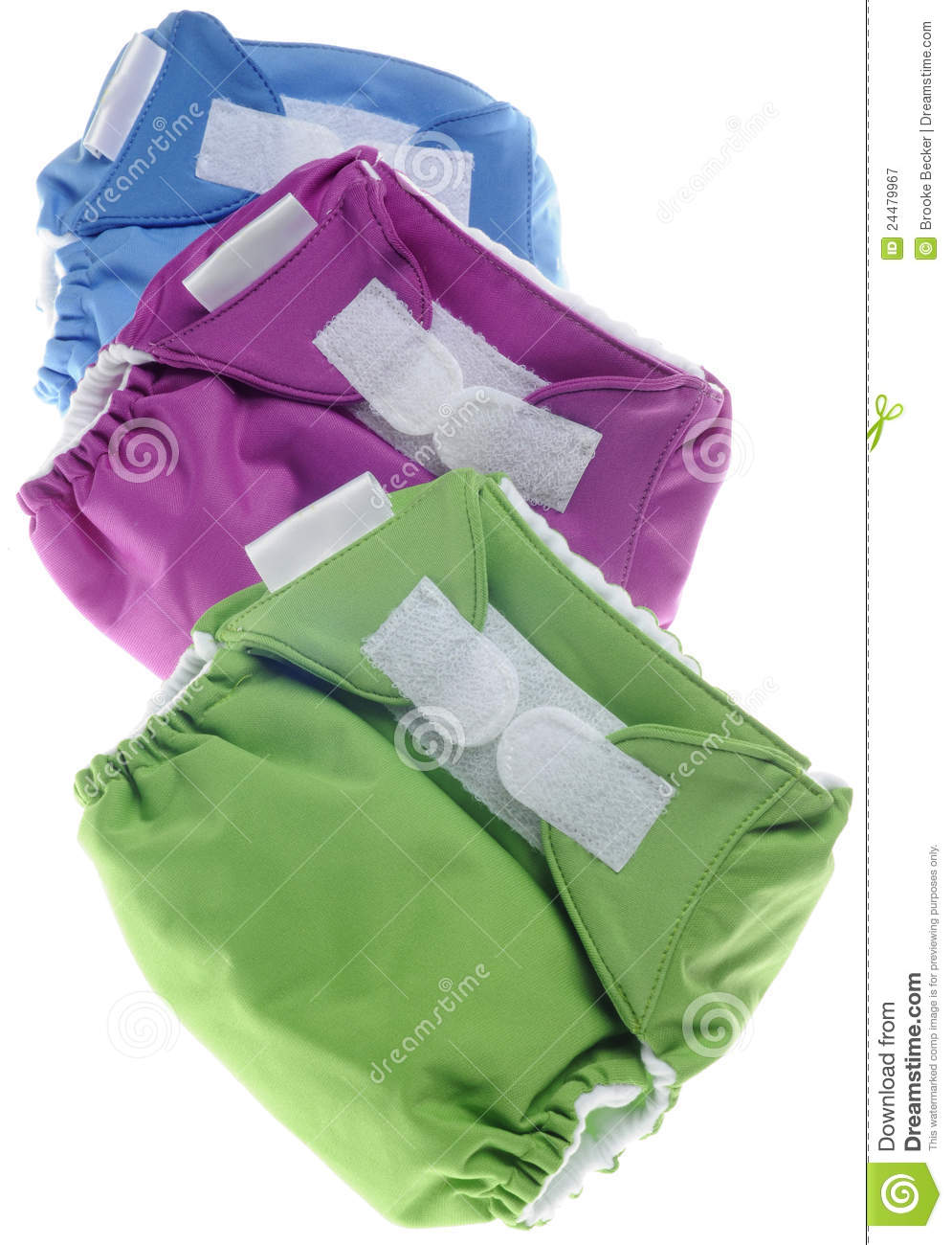 Cloth Diapers in Green, Purple and Blue