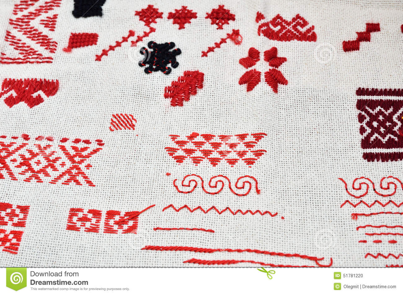 Cloth With Diverse Kinds Of Handmade Embroidery Stock Photo Image