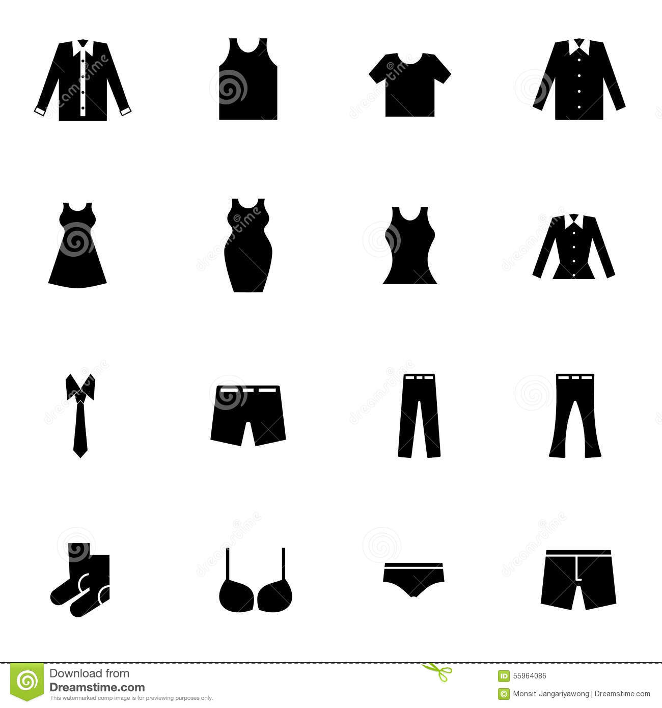 Cloth And Fashion Icons Set Vector Illustration Stock Vector Image 55964086