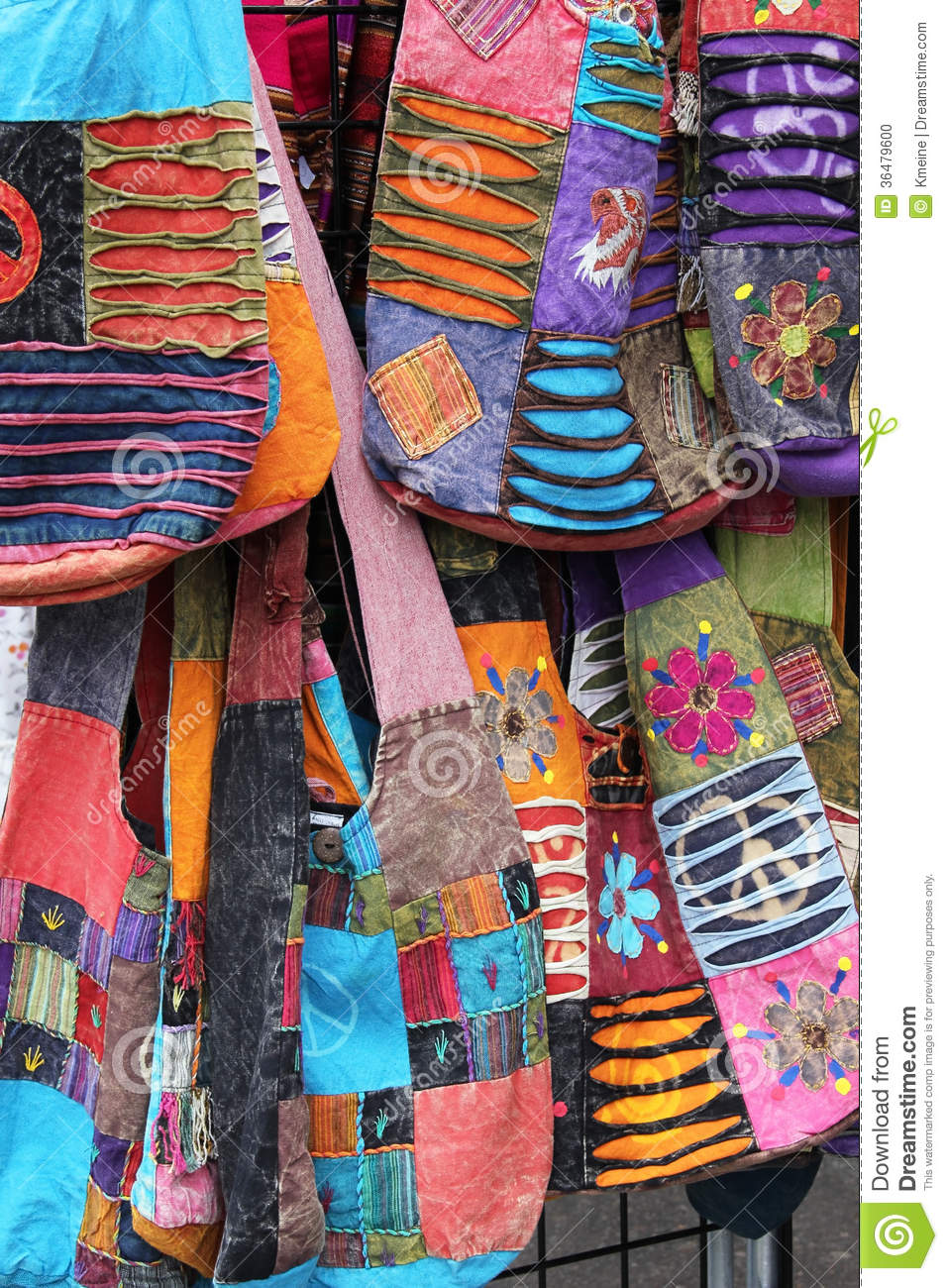 Cloth Quilted Purse Bags stock photo. Image