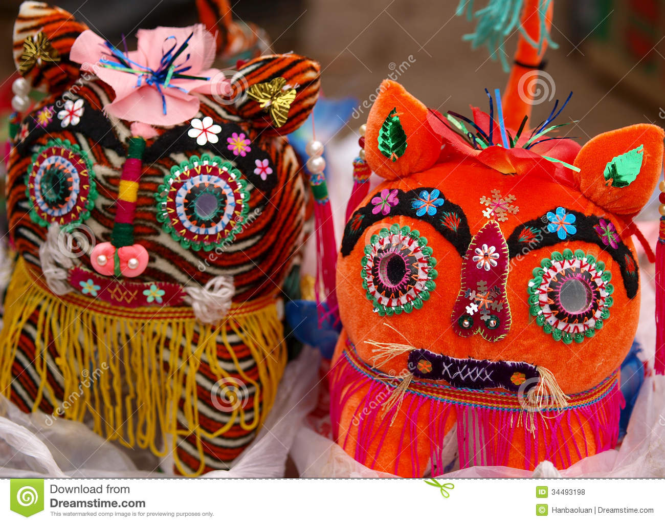 Cloth tiger head features stock photo. Image of fair ...