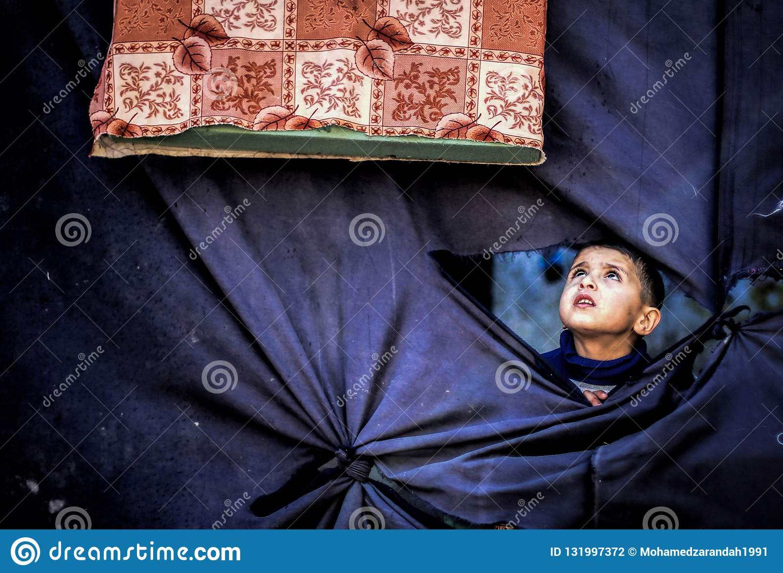 Cloth window from inside the camp.