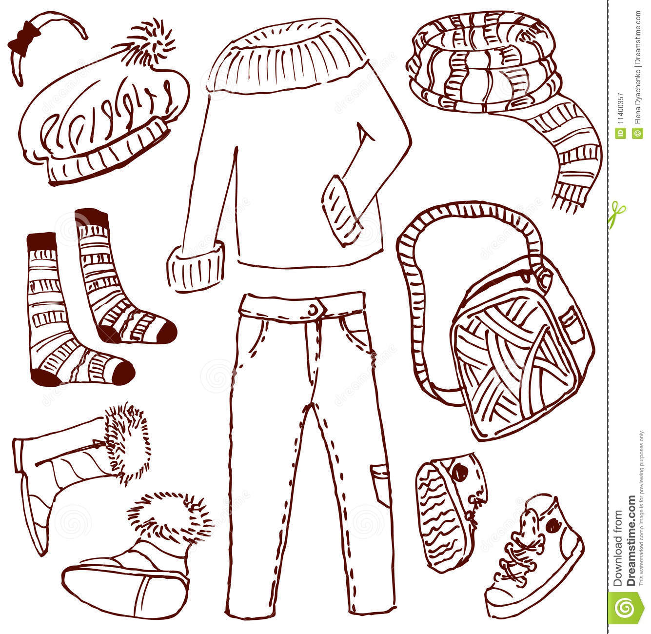 Clothes And Accessories Doodles Royalty Free Stock ...
