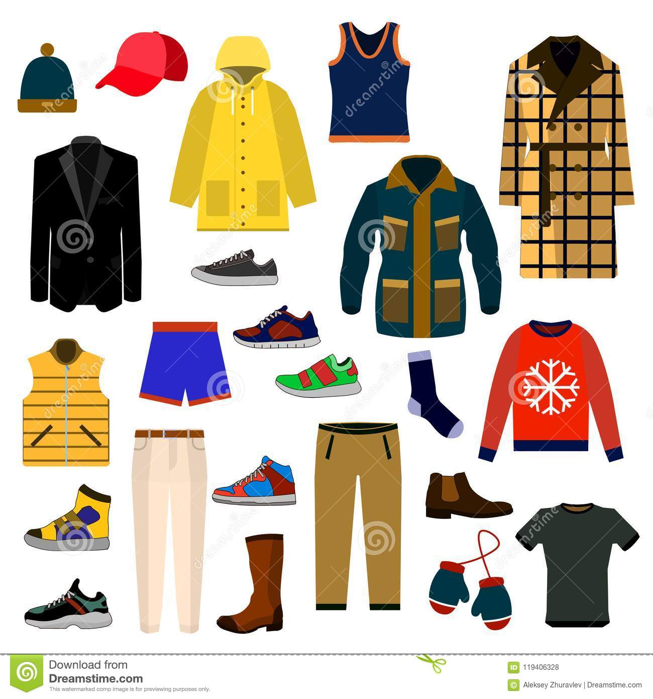 Clothes and accessories Fashion big icon set. Men clothes vector illustration icon set.
