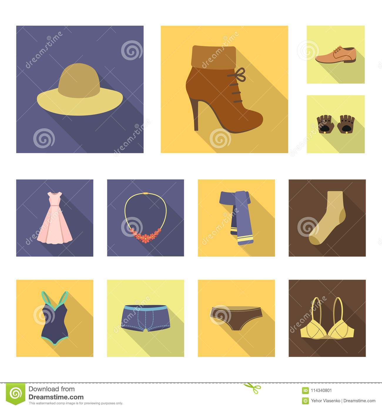 Clothes And Accessories Flat Icons In Set Collection For Design