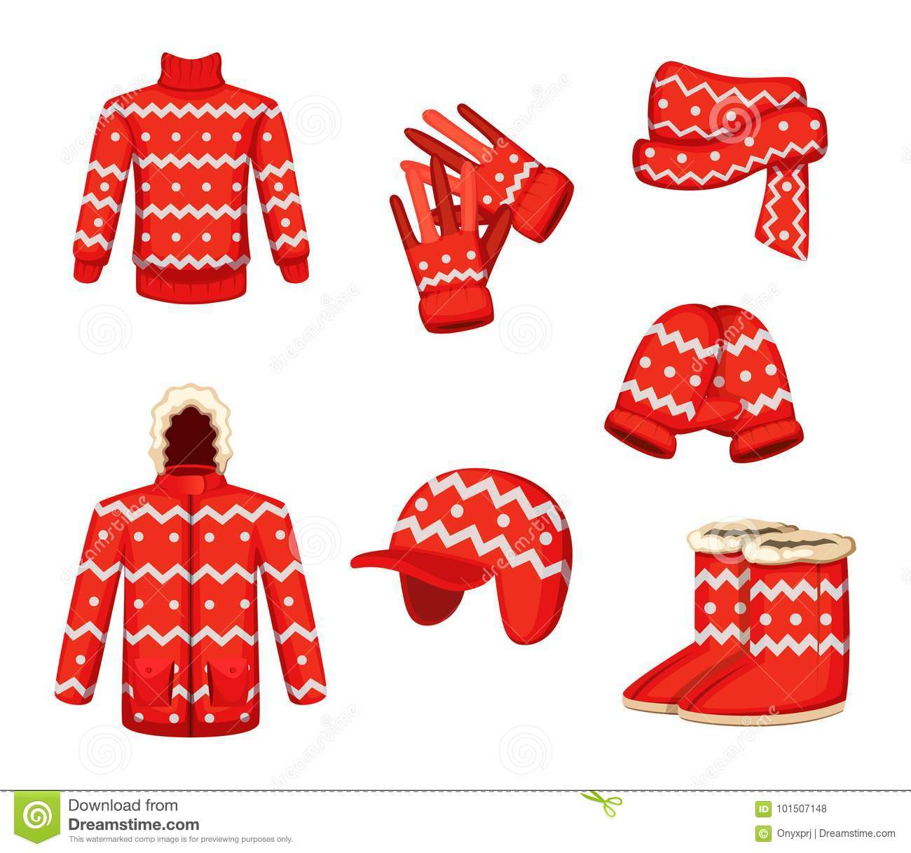 1ce83b35e682 Clothes At Christmas Holiday Style. Vector Illustrations For Winter ...