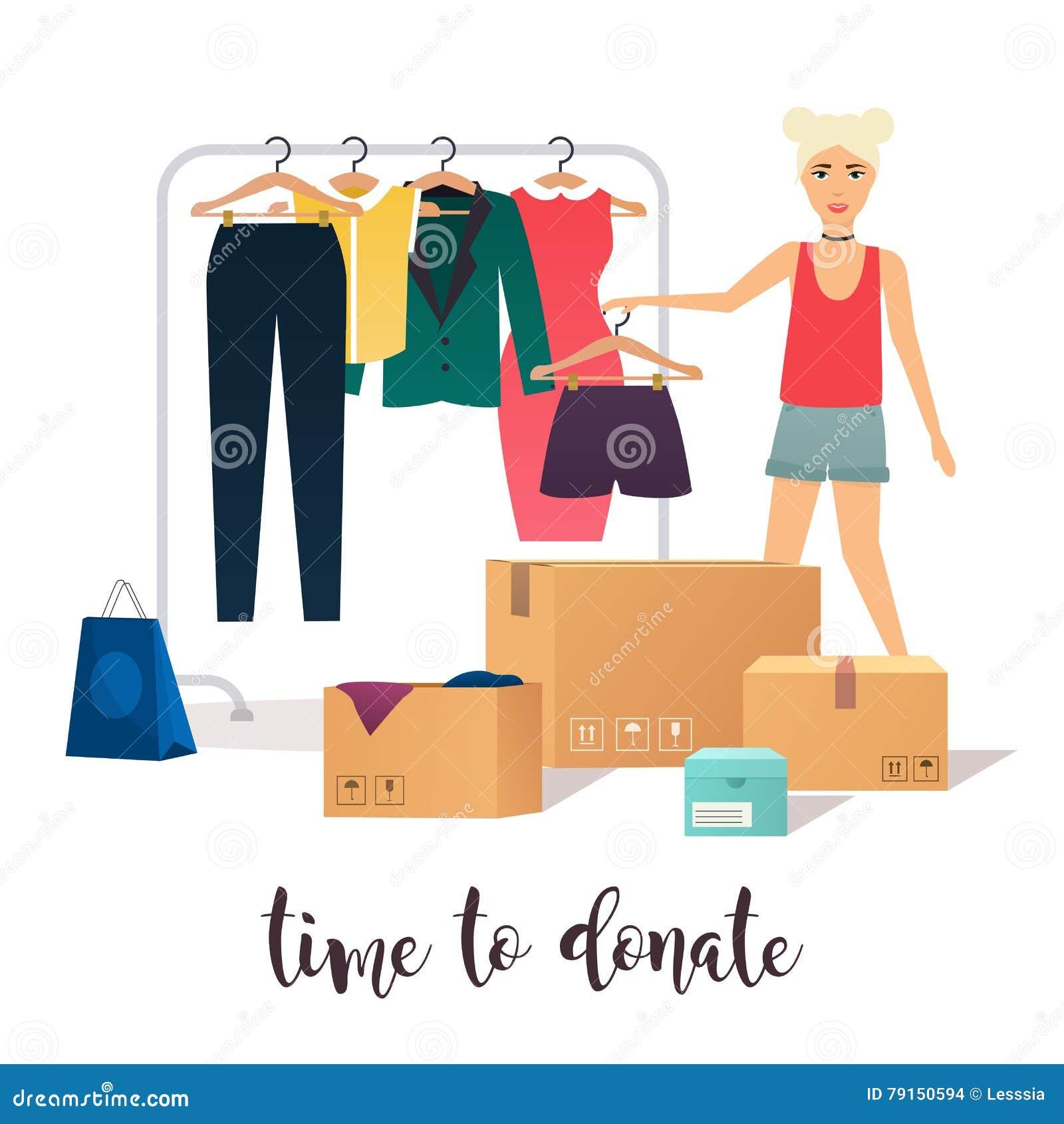 Clothes Donation. Girl Makes Clothes Donations. Vector ...
