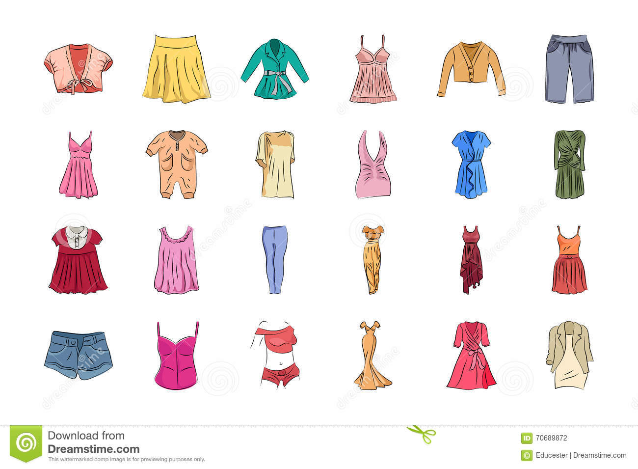 Clothes Hand Drawn Colored Vector Icons 1 Stock