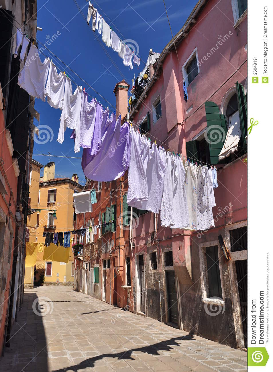 Clothes Line Hanging Above An Alley In Venice Stock Image