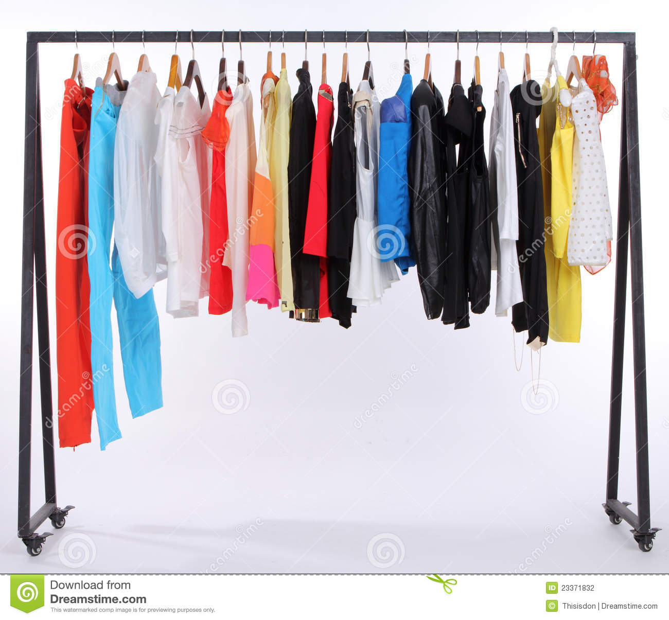 Clothes Hanging On A Shelf Stock Photo Image Of Clothes