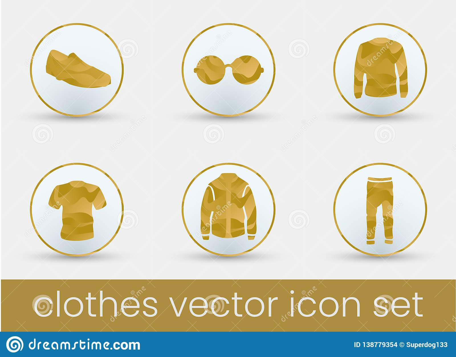 Vector Illustration Instagram: Clothes Icon Set Gold Stock Vector. Illustration Of Jacket