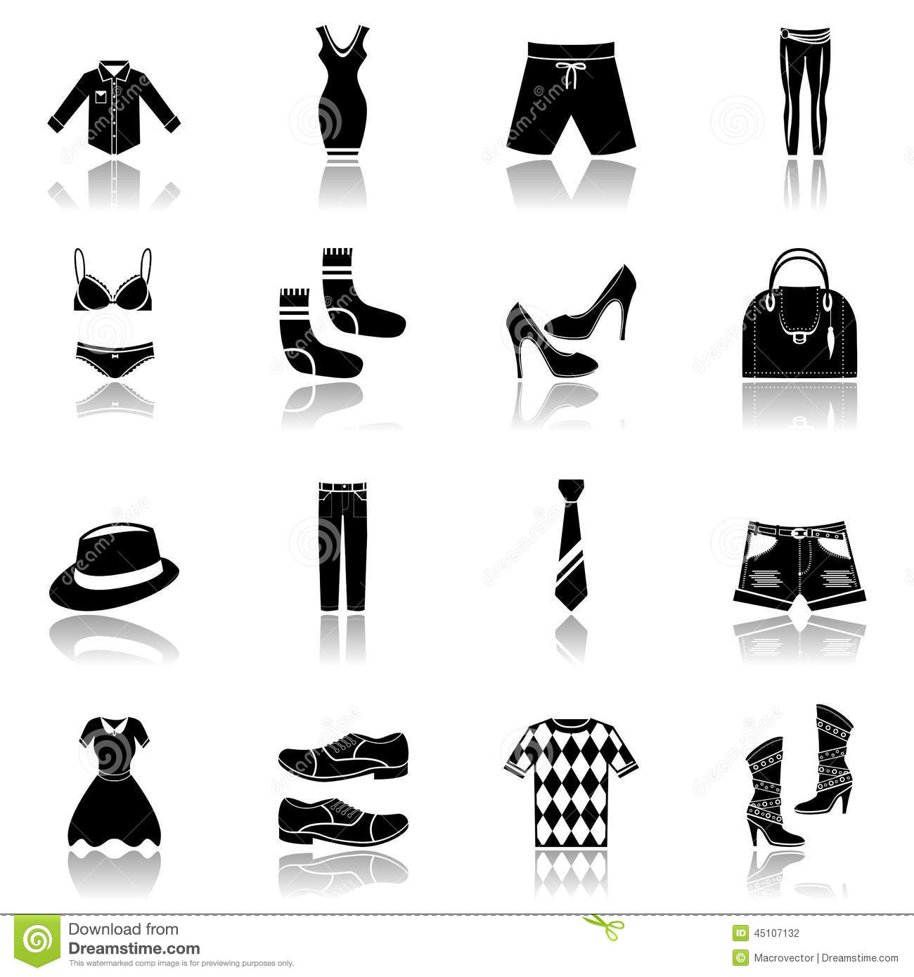 Clothes Icons Set Black Stock Vector - Image: 45107132