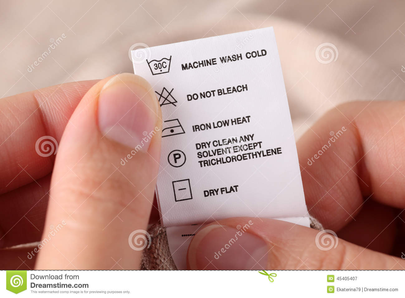 Clothes Label With Cleaning Instructions Stock Image Image Of