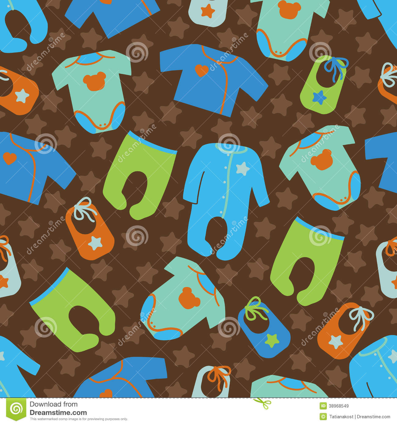clothes for newborn baby boy seamless pattern stock
