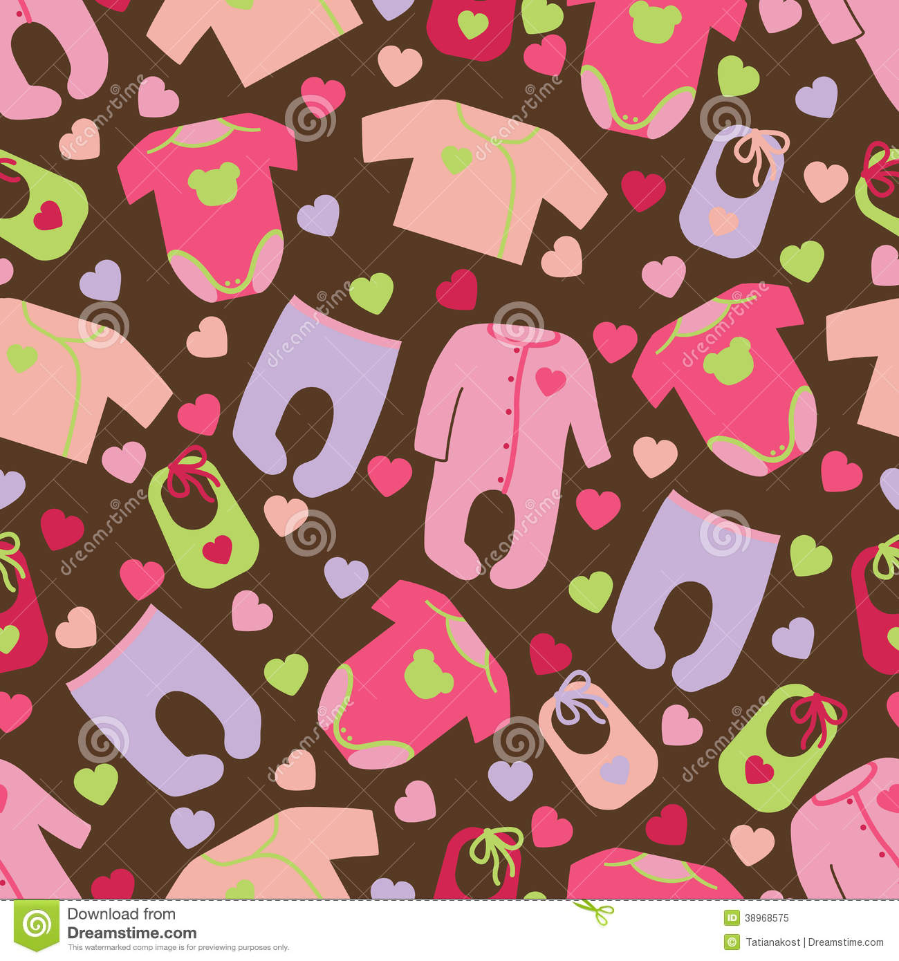Clothes For Newborn Baby Girl Seamless Pattern