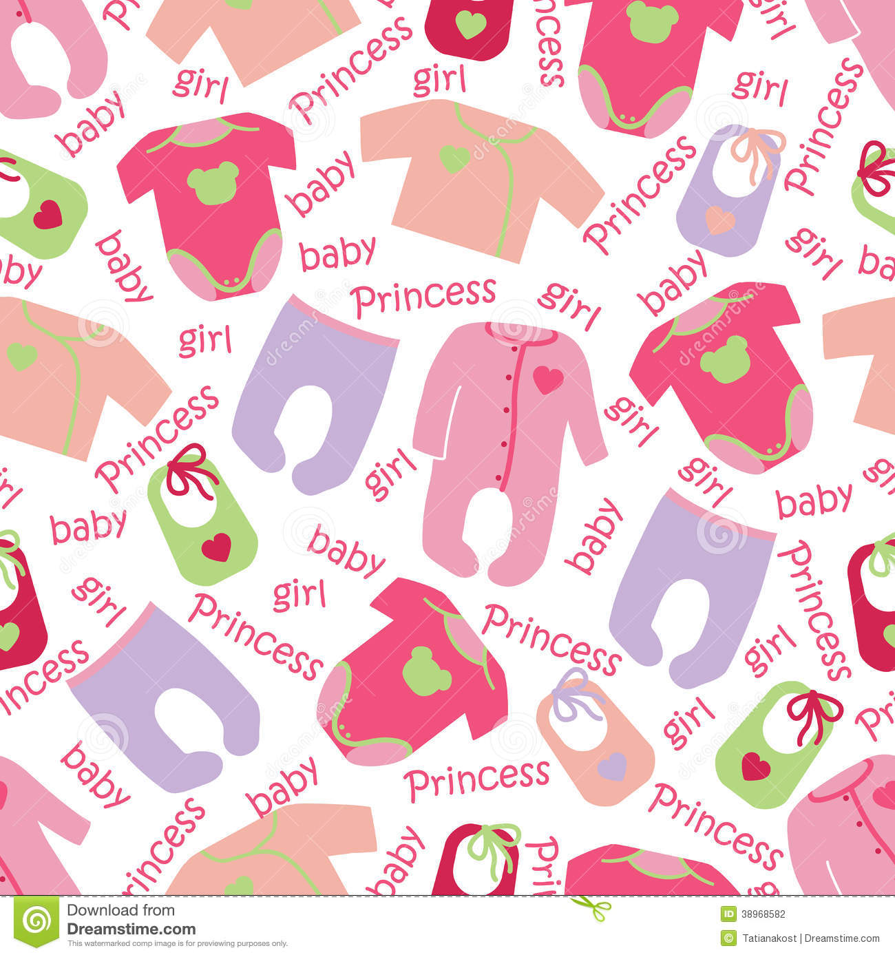 50f388a328dd Clothes For Newborn Baby Girl Seamless Pattern. Stock Vector ...
