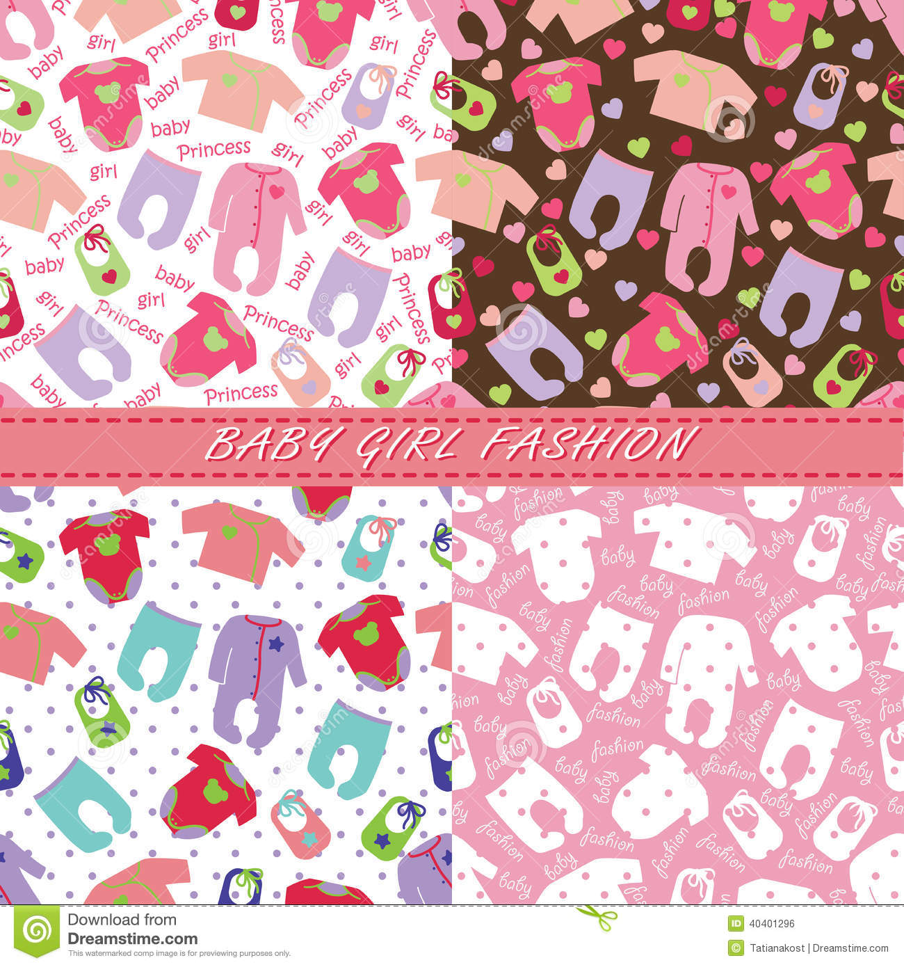 2cc45273b079 Clothes For Newborn Baby Girl In Seamless Pattern Set Stock Vector ...