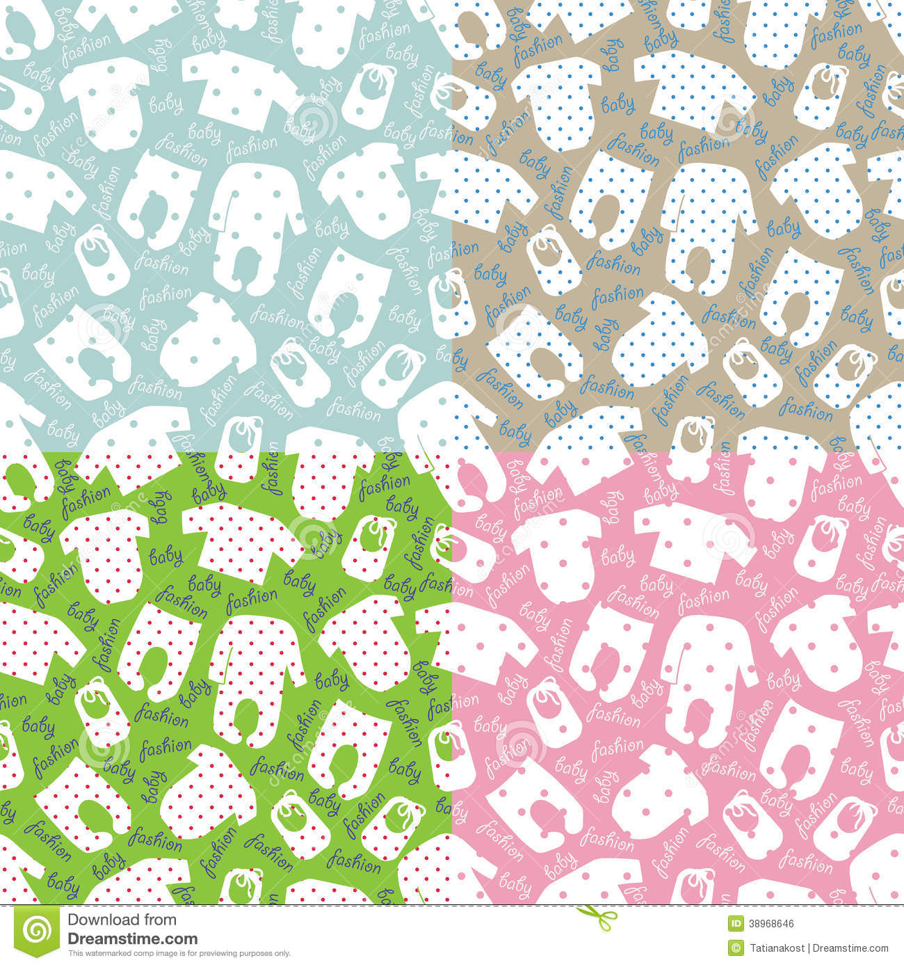 Colorful Clothes For Newborn Children Seamless Pattern Or Ornament With Polka DotSet Of PatternUnisex Models Baby FashionFor FabricsWallpaperpackaging