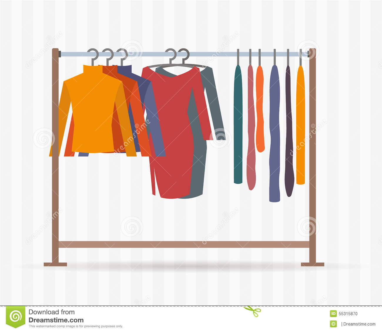 Kleiderständer clipart  Clothes Racks With Dresses On Hangers. Stock Vector - Illustration ...