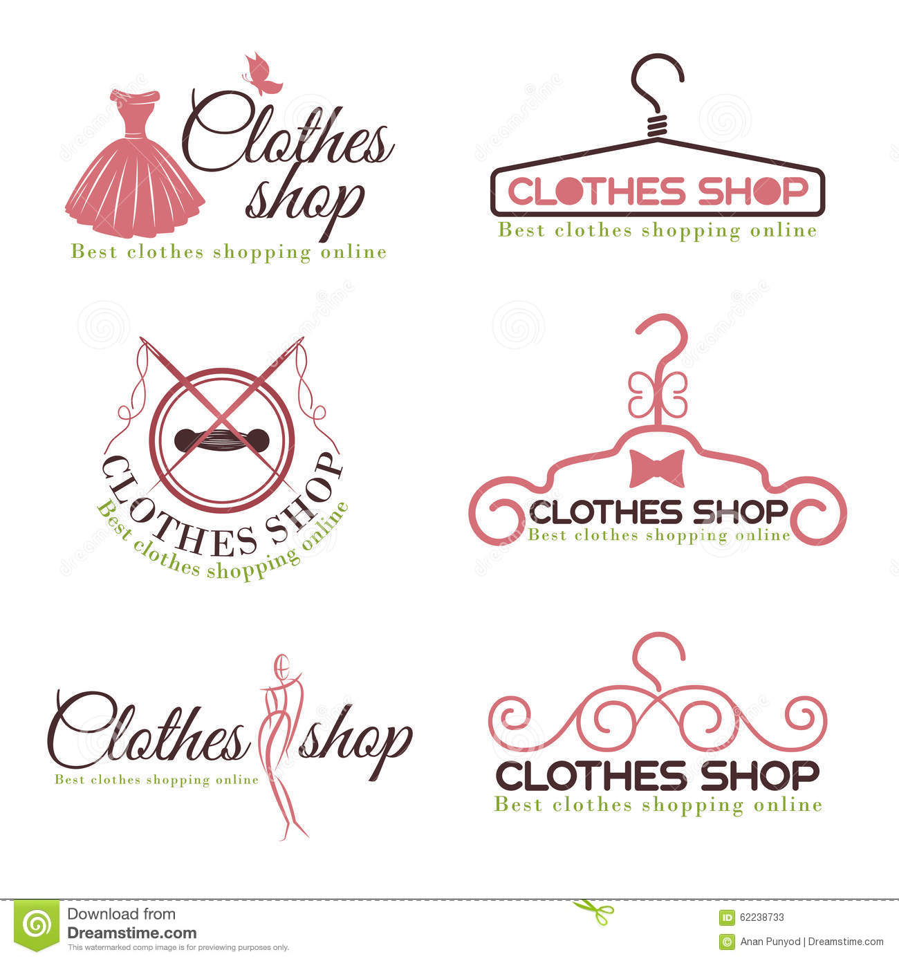 Clothes Shop Fashion Logo Vector Set Design Stock Vector Illustration Of Girl Logo 62238733