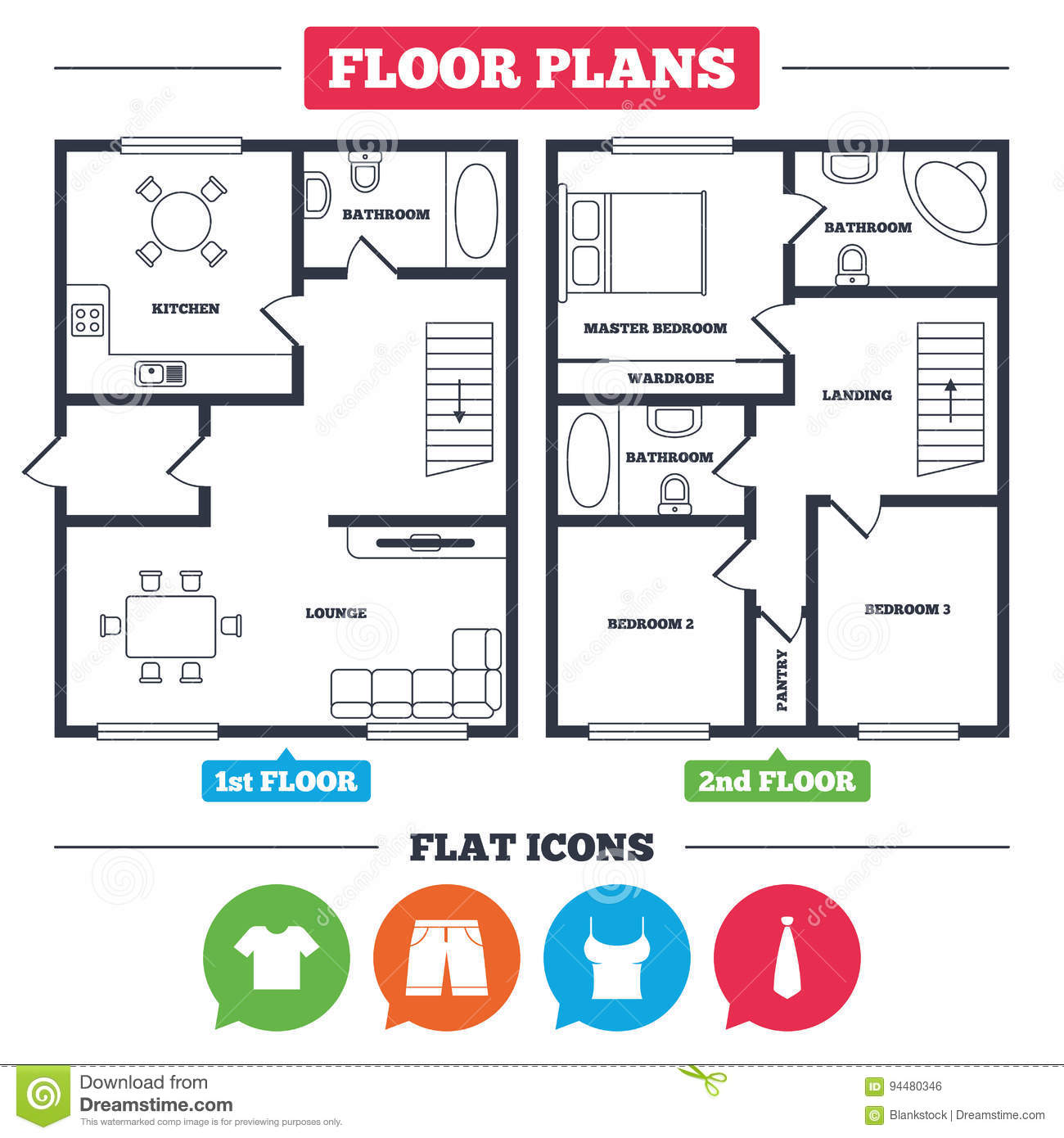 Architecture plan with furniture house floor plan clothes icons t shirt and bermuda shorts signs business tie symbol kitchen lounge and bathroom