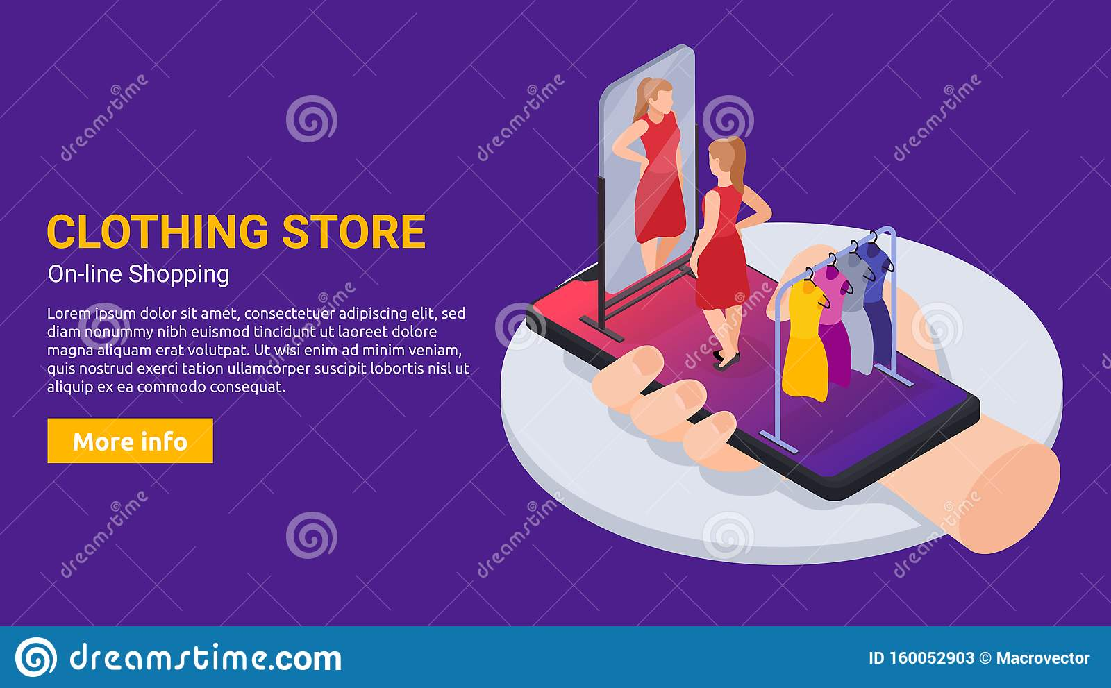 Clothes Store Banner stock vector. Illustration of device - 160052903