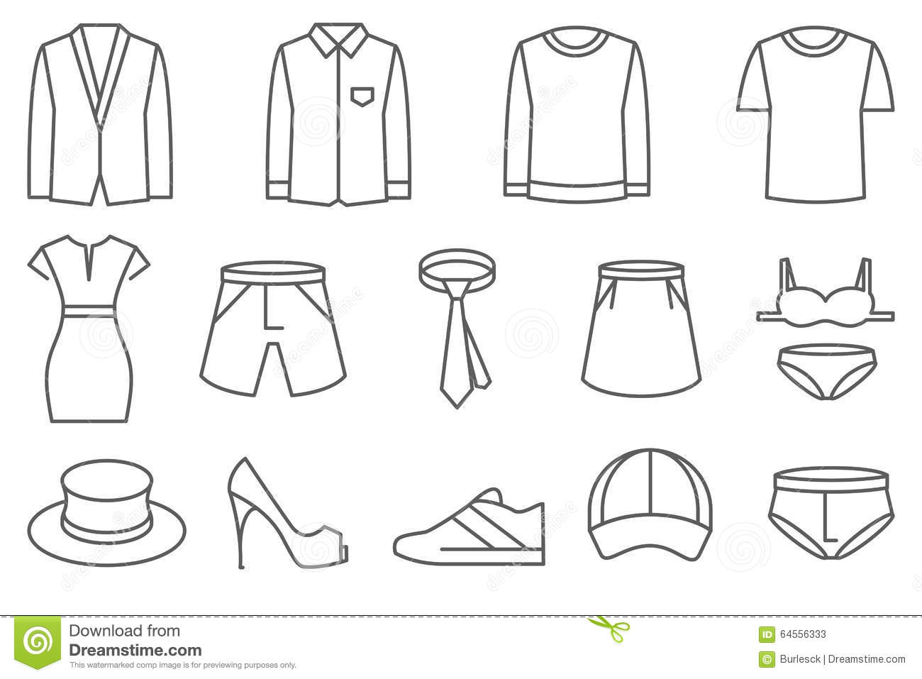 clothes vector line icons set stock vector illustration of glamour