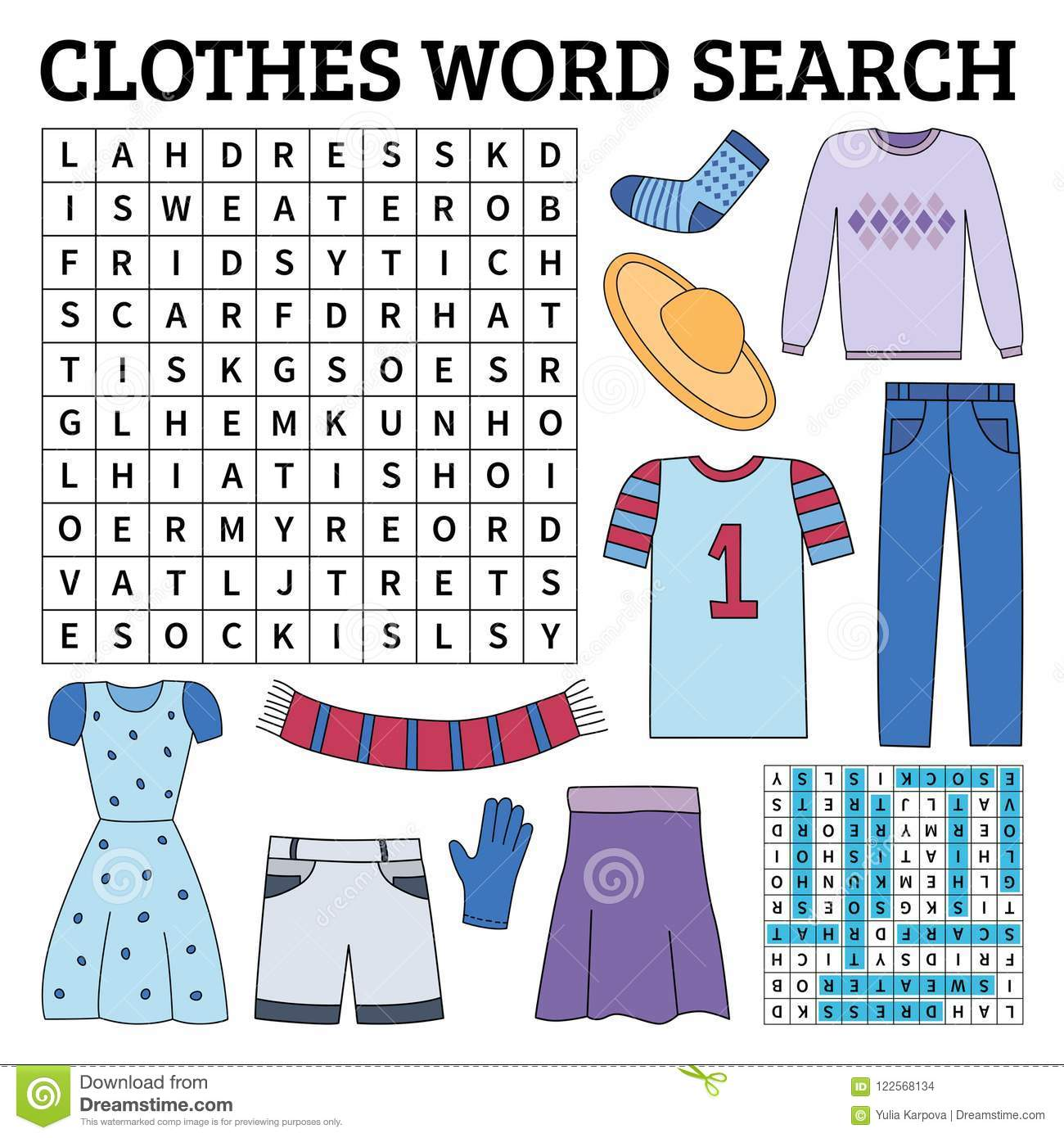 Clothes Word Search Game For Kids Stock Vector Illustration Of