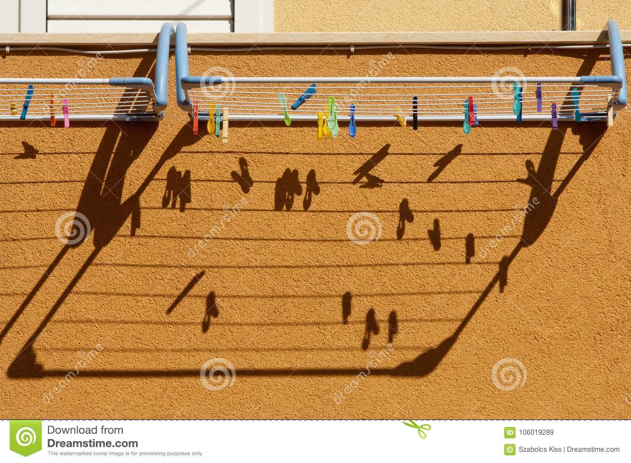 Clotheshorse And Clothes Pins And Their Shadow On The Wall Stock Image Image Of Clean Color 106019289
