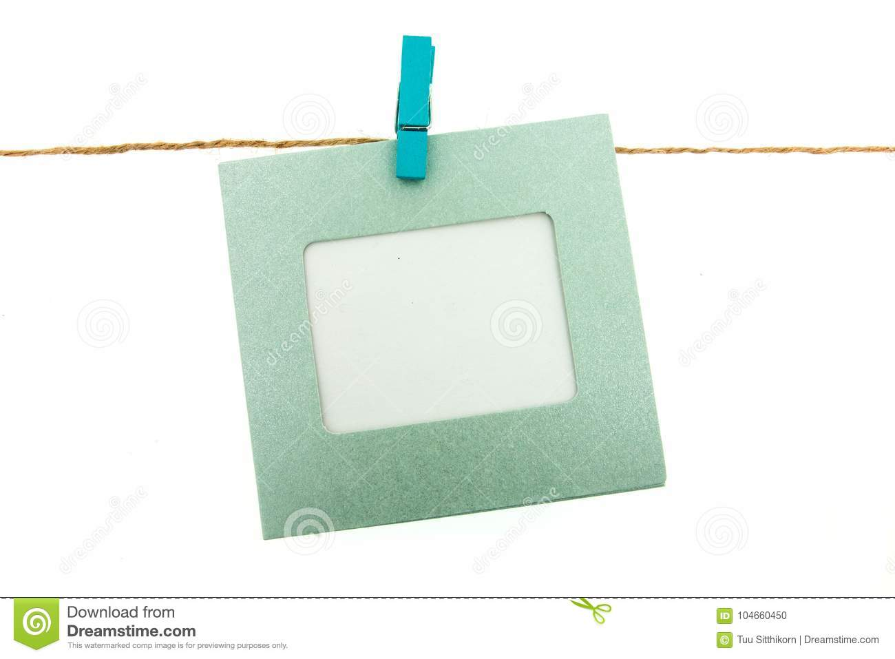Clothespin And Frame Card Hanging On Rope Stock Photo - Image of ...