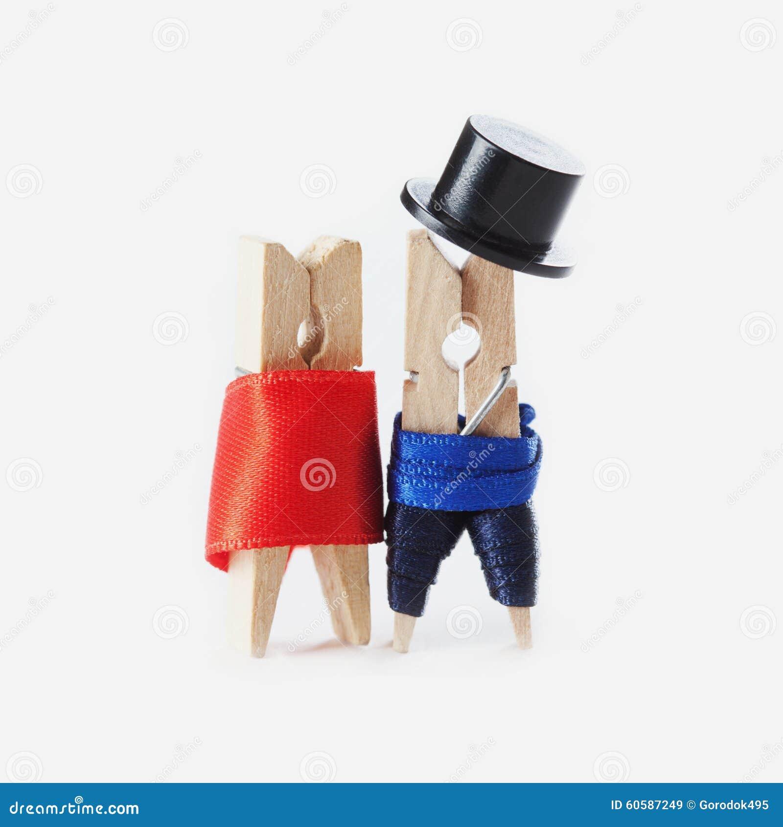 Clothespin Romantic Couple. Wedding. Valentines Day