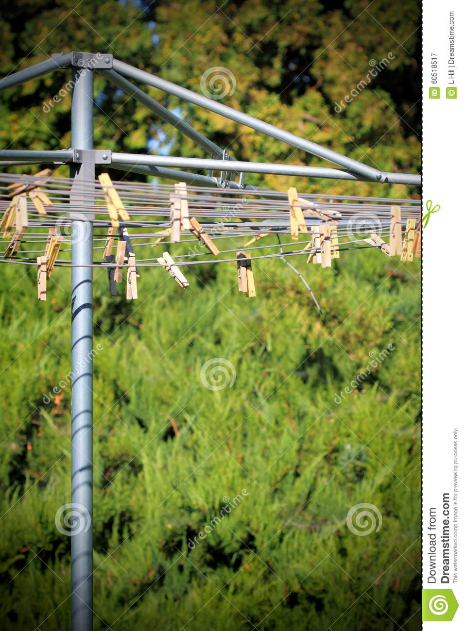 Clothespins On A Clothesline Stock Image - Image of housewife, line:  60518517