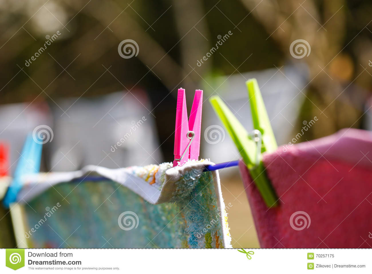 Clothespins Holding Laundry On The Drying Line Stock Image Image